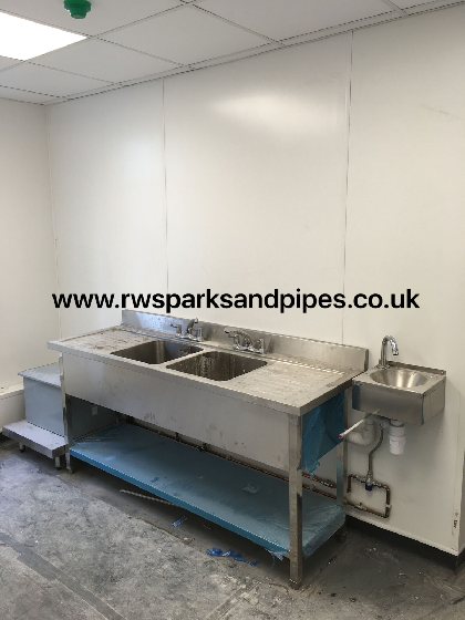 New double  sink / hand basin and grease trap we fitted to a new restaurant in Chester.