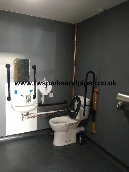 New disabled toilet we fitted to a new restaurant we project managed in Aston Universety.