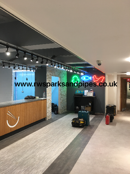 New fit out we project managed in Leeds Universety neon feature lighting with new cable tray and track lighting.